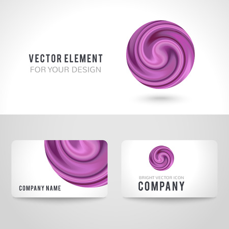 curtain up: Business card template set, abstract purple circle on white background. Vector illustration for modern design. Corporate identity for the company. Cool logo element.