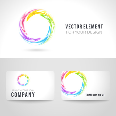business background: Business card template set, abstract colorful circle on white background. Vector illustration for modern design. Corporate identity for the company.