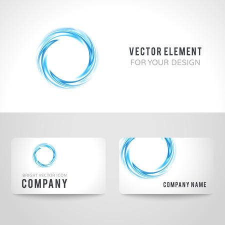 名刺テンプレートは、白地に青の円を抽象を設定します。モダンなデザインのベクトル図です。会社のコーポレート ・ アイデンティティ。  イラスト・ベクター素材