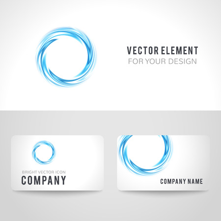 water colour: Business card template set, abstract blue circle on white background. Vector illustration for modern design. Corporate identity for the company.
