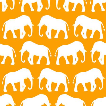 Animal seamless retro vector pattern of elephant Vector