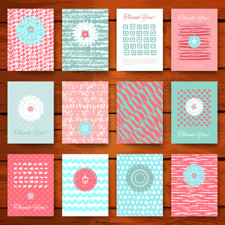 shabby: Set of grunge vintage cards with romantic hand drawn textures. Vector illustration for retro pattern design. Collection of Brochures. Posters, flyers, placards, and banners. Pink and blue colors. Illustration