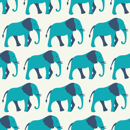 Animal seamless retro vector pattern of elephant silhouettes. Endless texture can be used for printing onto fabric, web page background and paper or invitation. White, blue colors. Vector