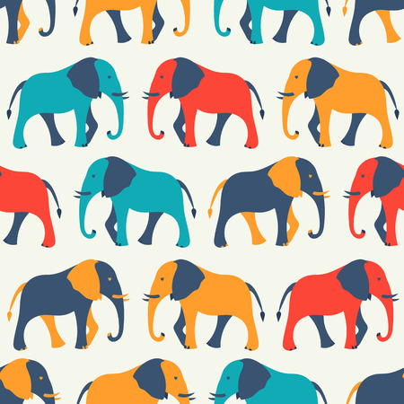 Animal seamless retro vector pattern of elephant silhouettes. Endless texture can be used for printing onto fabric, web page background and paper or invitation. White, blue, red and yellow colors.