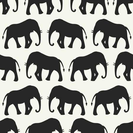 Animal seamless retro vector pattern of elephant silhouettes. Endless texture can be used for printing onto fabric, web page background and paper or invitation. White, black colors. Vector