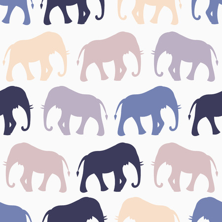 Animal seamless retro vector pattern of elephant silhouettes. Endless texture can be used for printing onto fabric, web page background and paper or invitation. Blue, white and beige colors. Vector
