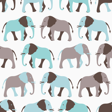 Animal seamless retro vector pattern of elephant silhouettes. Endless texture can be used for printing onto fabric, web page background and paper or invitation. White, blue and gray colors. Vector