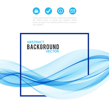 blue wave: Abstract blue wave with frame isolated on white background. Vector illustration for modern business design. Futuristic wallpaper. Cool element for presentation, card, flyer and brochure. Illustration