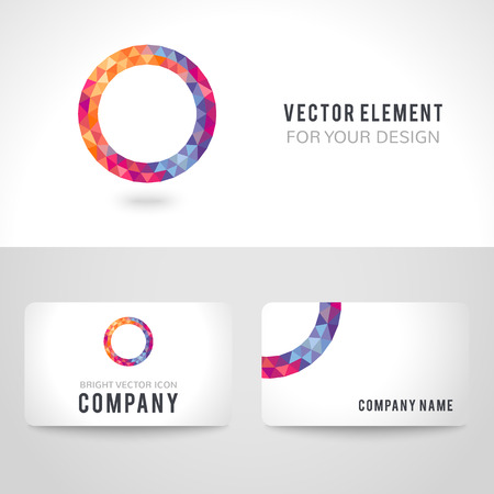 objects: Business card template set. Bright picture round frame in modern polygonal crystal style on white background. Vector illustration colorful bright design. Triangles.