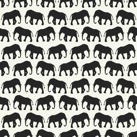 silueta niño: Vector patrón de animal transparente retro de las siluetas de elefantes. Textura sin fin se puede utilizar para la impresión sobre la tela, fondo de páginas web y papel o invitación. Blanco, colores negros.