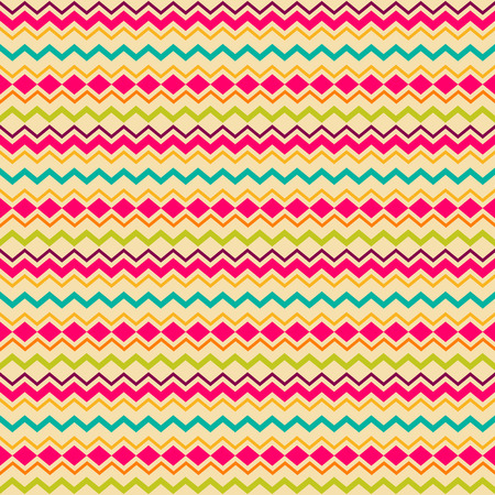 vintage colors: Ethnic tribal zig zag and rhombus seamless pattern. Vector illustration for beauty fashion design. Blue, orange, pink and yellow colors. Vintage stripe style.