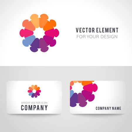 unity: Business card template set. Abstract bright colorful communication logotype. Vector illustration for company employees unity diversity.