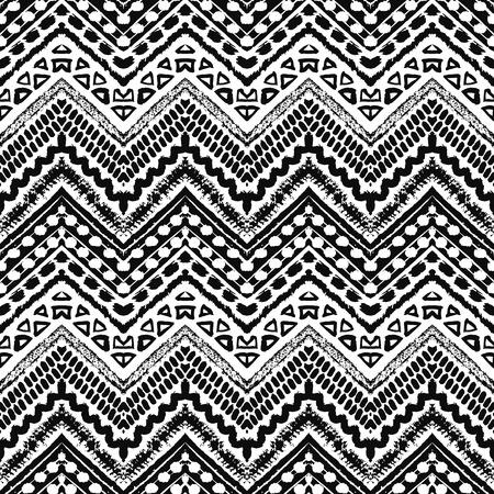 rayas: Dibujado a mano pintado sin patrón. Ilustración vectorial para diseño tribal. Motivo étnico. Línea en zigzag y raya. Colores blanco y negro. Por invitación, web, textil, papel pintado, papel de envolver. Vectores