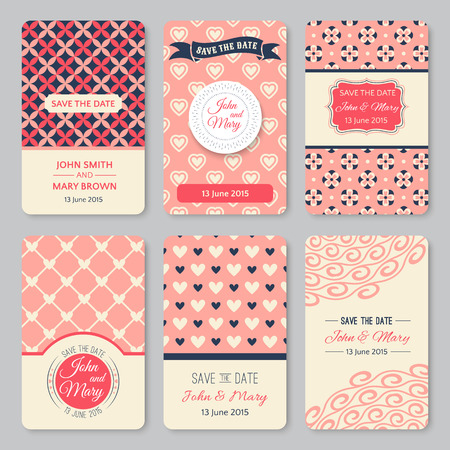 pretty: Set of perfect wedding templates with pattern theme. Ideal for Save The Date, baby shower, mothers day, valentines day, birthday cards, invitations. Vector illustration for pretty design.