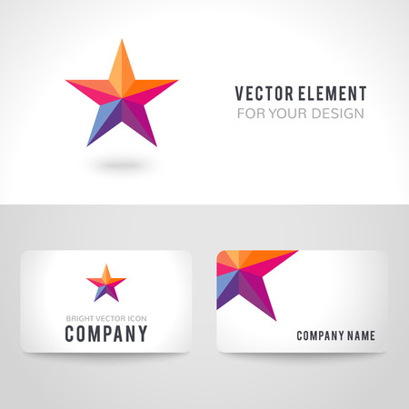 goodly: Business card template set. Bright colorful star shape in modern polygonal crystal style on white background. Vector illustration for holiday patriotic design.