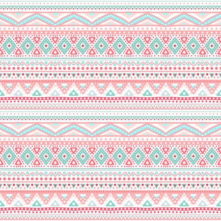 Tribal ethnic seamless stripe pattern. Vector illustration for your cute feminine romantic design. Aztec sign on white background. Pink and blue colors. Borders and frames.