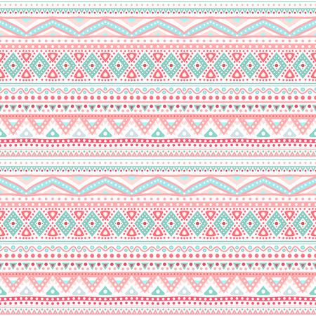 Tribal etnische naadloze streep patroon. Vector illustratie voor uw schattige vrouwelijke romantisch ontwerp. Aztec teken op een witte achtergrond. Roze en blauwe kleuren. Grenzen en frames. Stock Illustratie