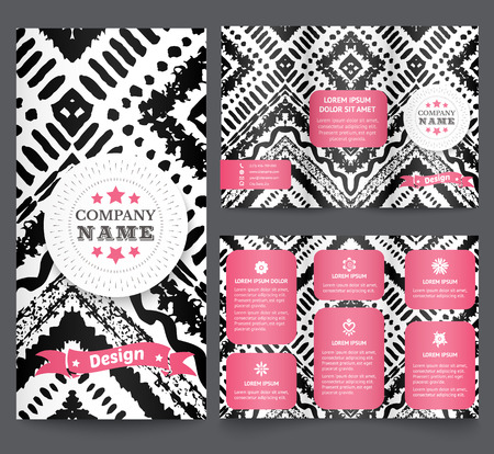 grunge banner: Professional three fold business flyer template, corporate brochure or cover design with doodles tribal theme.. Vector illustration for pretty feminine design.  Ethnic vintage patterns