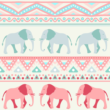 vector fabric: Animal seamless retro vector pattern of elephant silhouettes. Endless texture can be used for printing onto fabric. With doodle stripes. White, blue, red and yellow colors.