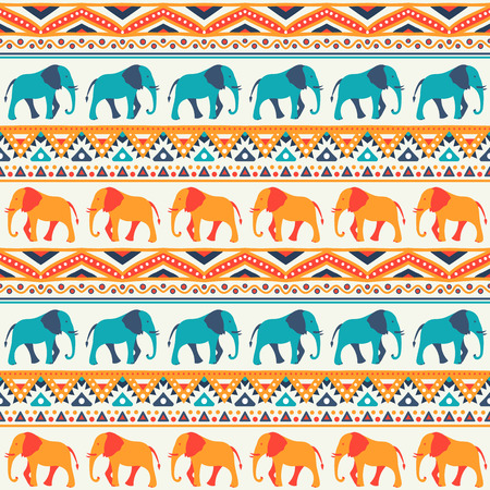 Animal seamless retro vector pattern of elephant silhouettes. Endless texture can be used for printing onto fabric. With doodle stripes. White, blue, red and yellow colors.