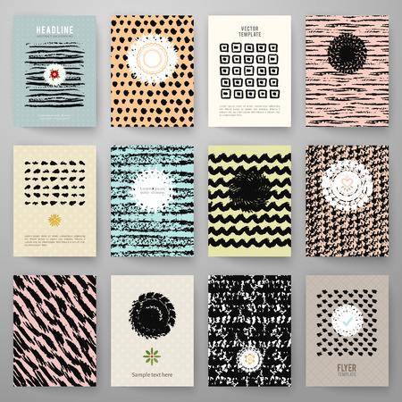 Set of grunge vintage cards with black hand drawn textures. Vector illustration for retro pattern design. Collection of Brochures. Posters, flyers, placards, and banners.