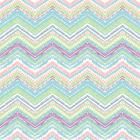 Hand drawn painted seamless pattern. Vector illustration for tribal design. Ethnic motif. Zigzag and stripe line. Retro pastel colors. For invitation, web, textile, wallpaper, wrapping paper.