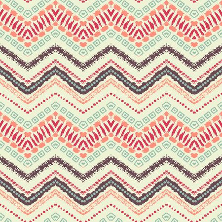 tribales: Dibujado a mano pintada sin patrón. Ilustración del vector para el diseño tribal. Motivo étnico. Línea en zigzag y la raya. Por invitación, tela, textil, papel pintado, papel de envolver.