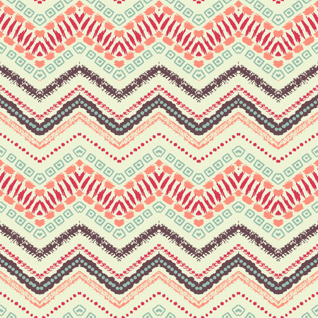 Hand drawn painted seamless pattern. Vector illustration for tribal design. Ethnic motif. Zigzag and stripe line. For invitation, web, textile, wallpaper, wrapping paper.