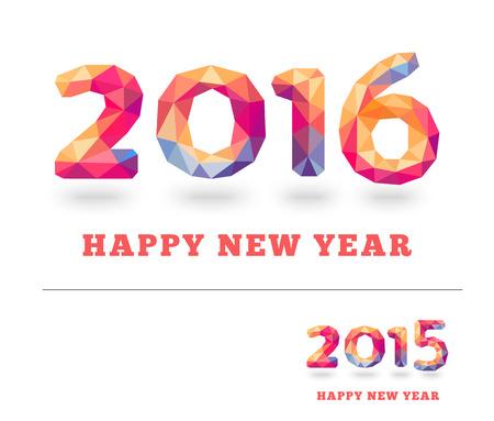 frohes neues jahr: Frohes Neues Jahr 2016 und 2015 bunte Grußkarte in polygonalen Origami-Stil. Vektor-Illustration für Ferien-Design. Party Poster, Grußkarte, Banner oder Einladung. Illustration