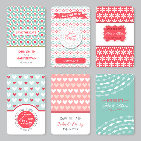 the date: Set of perfect wedding templates with pattern theme. Ideal for Save The Date, baby shower, mothers day, valentines day, birthday cards, invitations. Vector illustration for pretty design.