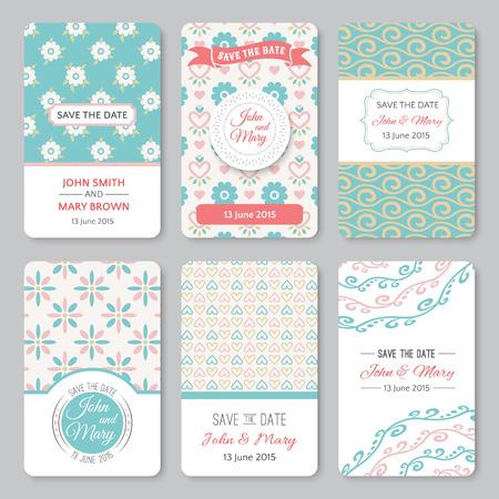 パターンをテーマにした完璧な結婚式テンプレートのセット。日付、ベビー シャワー、母の日、バレンタインデー、誕生日カード、招待状に最適で