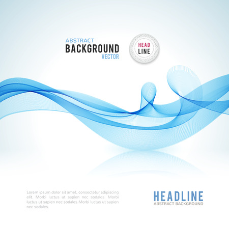 Abstract blue wave isolated on white background. Vector illustration for modern business design. Futuristic wallpaper. Cool element for presentation, card, flyer and brochure. Иллюстрация