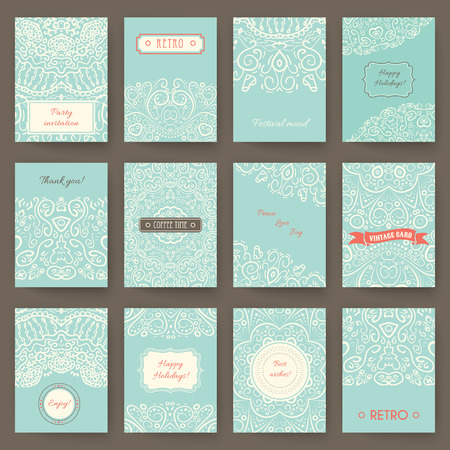invitation cards: Set of perfect holiday templates with doodles tribal theme. Ideal for Save The Date, baby shower, mothers day, valentines day, birthday cards,  brochures, invitations. Vector illustration for pretty vintage style design.