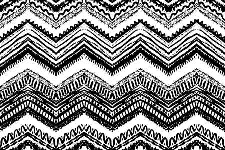 tribal pattern: Hand drawn painted seamless pattern. Vector illustration for tribal design. Ethnic motif. Zigzag and stripe line. Black and white colors. For invitation, web, textile, wallpaper, wrapping paper.