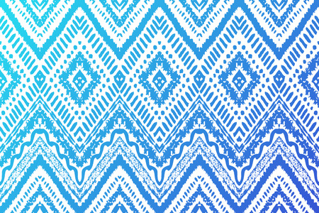 boho: Hand drawn painted seamless pattern. Vector illustration for tribal design. Ethnic motif. Zigzag and stripe line. Blue and white colors. For invitation, web, textile, wallpaper, wrapping paper. Illustration