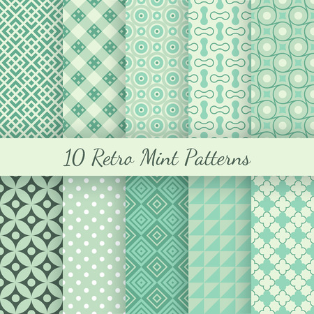 10 Retro mint and emerald vector seamless patterns. Endless texture can be used for wallpaper, pattern fills, web page background, surface textures. Set of shabby vintage geometric ornaments. Vettoriali