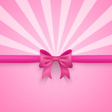 moño rosa: Fondo romántico del vector de color rosa con el arco lindo y patrón.