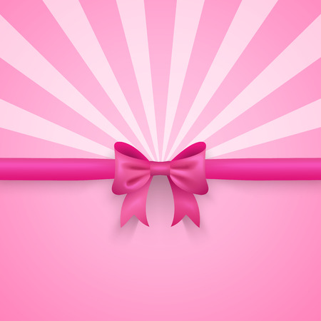 Romantic vector pink background with cute bow and pattern.  Иллюстрация