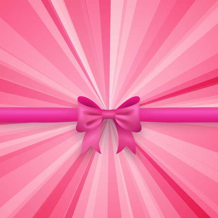 beauty birthday: Romantic pink background with cute bow and pattern.