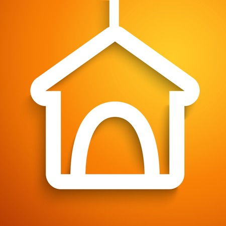 background orange: Applique doghouse icon frame.  illustration for happy animal design. Dog home cut out white paper. Isolated on orange background. Stock Photo