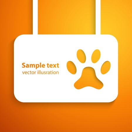 dog track: Applique dog track icon frame.  illustration for happy animal design. Paw cut out white paper. Isolated on orange background.