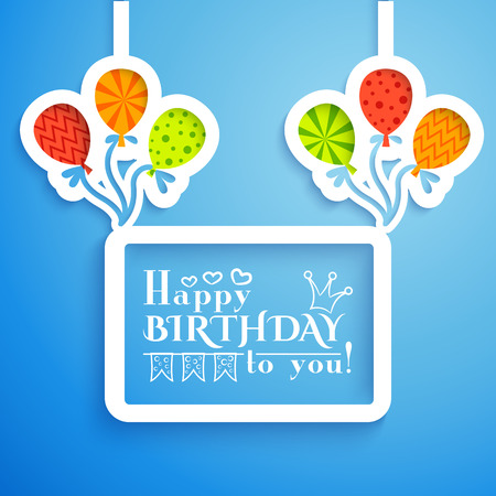retro postcard: Happy birthday retro postcard with balloons.  illustration for your holiday presentation. Easy to use. Postcard picture in bright color. Stock Photo