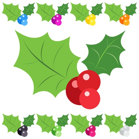 blue berry: Set of holly berry sprig icons isolated on white background.  illustration of christmas symbol design. Collection of nature signs.