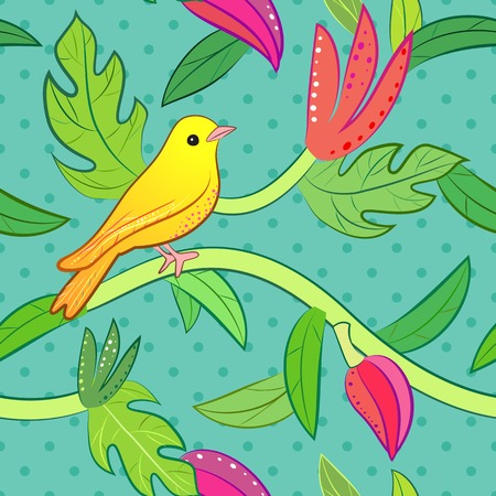 yellow flower tree: Bright yellow, orange little tropical forest bird and wild green tree and red, pink flower on dot background.  illustration for pretty beautiful design. Hand drawn seamless pattern.