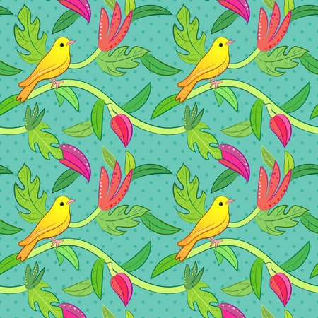 soulful: Bright yellow, orange little tropical forest birds and wild green tree and red, pink flowers on dot background.  illustration for pretty beautiful design. Hand drawn seamless pattern. Stock Photo