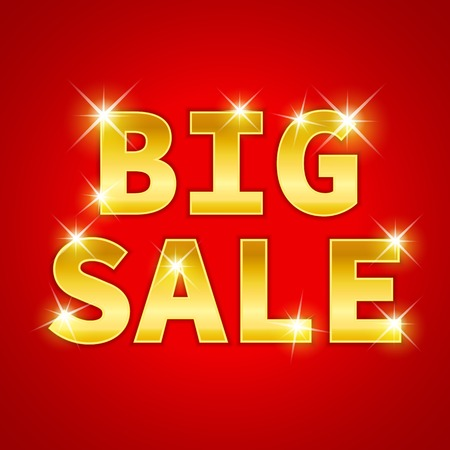 offer icon: Yellow gold metal Big Sale text icon with sparkle on red background.  illustration for advertising design. Element for web. Glossy creative 3D  text of sale discount price offer. Stock Photo