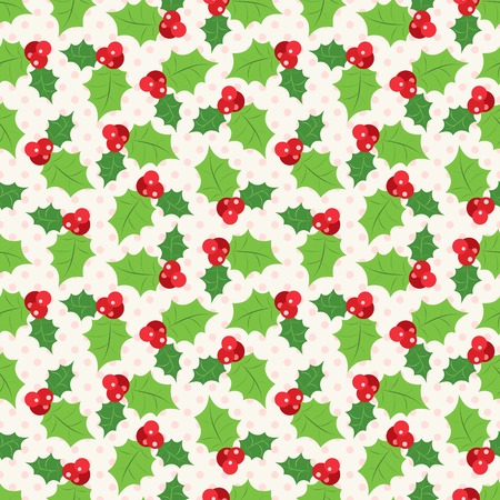 sprig: Seamless pattern of holly berry sprig.   illustration of christmas holiday design. Green and red colors.