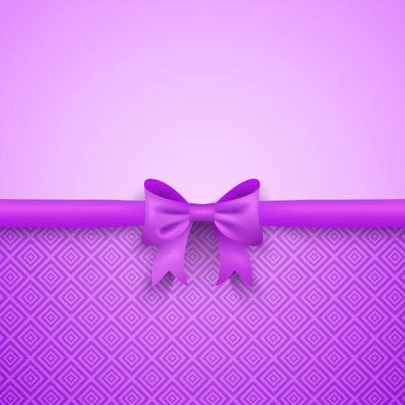 purple background: Romantic  purple background with cute bow and pattern. Pretty design. Greeting card wallpaper for valentine day, birthday or woman day. Stock Photo