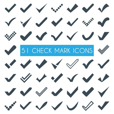 the positive: Set of different  check marks or ticks. Confirmation acceptance positive passed voting agreement true or completion of tasks on a list. Stock Photo