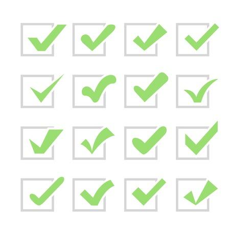 confirmacion: Conjunto de diferentes marcas de verificación o garrapatas en cajas. Confirmación de aceptación positiva acuerdo de votación transcurrido cierto o la realización de tareas en una lista. colores verde y gris.